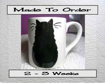 Black Cat Mug Original Handmade To Order With Paws On Back by GMS