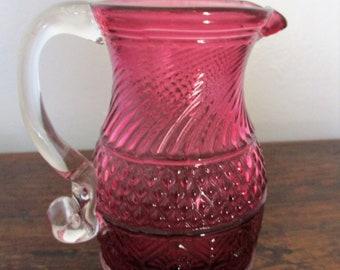 Pilgrim Cranberry Glass Pitcher - Bennington Pattern Handblown Creamer Syrup Cruet - Collectible 1970s Design