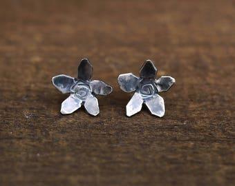 Flower Earrings, Flower Studs, Posy Earrings, Flowers Earrings, Silver Flower Earrings, Flower Stud Earrings, Silver Flower Studs
