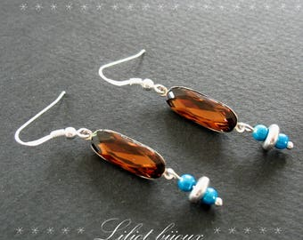 Brown and turquoise Swarovski crystal earrings