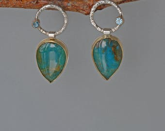 Peru Opal Drop Earrings, Gold and Silver, Blue Green Peruvian Opal Earrings, Post, Large Opal Earrings, Opal Jewelry, Gold and Silver