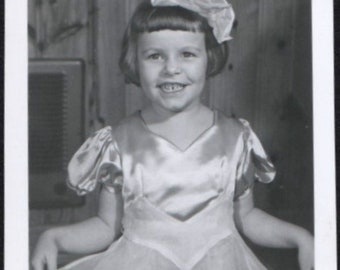 Vintage Photo Cute Little Girl Bow in Her Hair Holds Out Skirt 1950's, Original Found Photo, Vernacular Photography