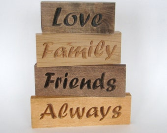 Inspirational Wood Signs Word Art Set Love Family Friends Always
