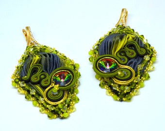 Silk shibori ,soutache earrings