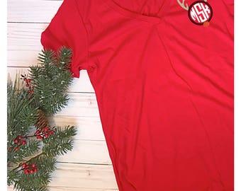 Reindeer Christmas Monogram Shirt
