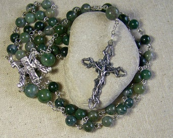 Catholic gemstone rosary for her in moss agate, gemstone rosary