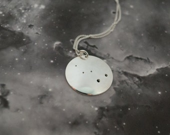 Silver Cassiopeia pendant: The constellation of Cassiopeia on a sterling silver pendant