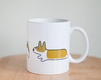 Sit, Stay, Save the Day Corgi ceramic mug