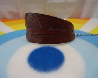 Hand Tooled Hand Cut Leather Feather Adjustable Bracelet Wearable Art