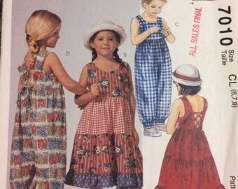 Vintage Girls' Dress and Jumpsuit Sewing Pattern McCall's 7010 Girls'  Size 6-7-8 Uncut Complete