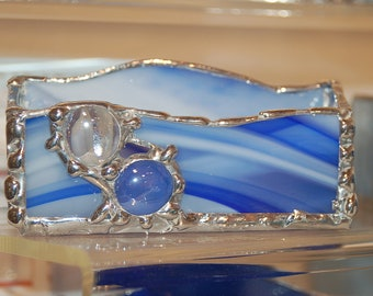 Stained Glass Business Card Holder with Glass 'Gem' Embellishments Made to Order Great Gift for Dads and Grads