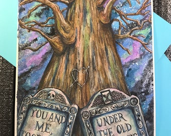 THE SYCAMORE TREE - illustration art print, mixed media with watercolor and acrylic inks