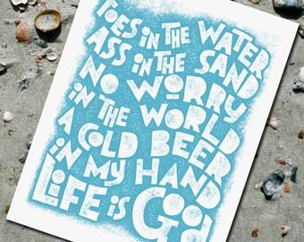 TOES in the Water - Zac Brown beach song lyrics  - beach decor -  Letterpress art print  -  Typography - ocean coastal