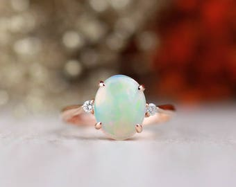 Oval Opal and Diamond Engagement Ring | 2.2MM Band Width | Prong Setting | Solid 14K Gold | Fine Jewelry | Free Shipping