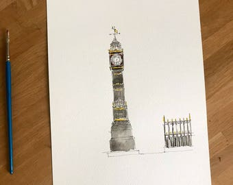 Original watercolour study the Clock Tower, South Norwood, London.