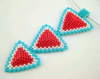 Peyote Pendant / Peyote Triangles Necklace / Seed Bead Pendant in Red, Turquoise and White / Beaded Pendant / Beadwork Necklace