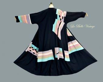 Patchwork Linen Coat XL XXL Vintage Plus Size Wearable Textile Art ~ Designer Mary Byington