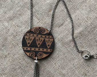 OOAK necklace ~ woodburned wooden wood pendant ~ handmade dangle chain necklace