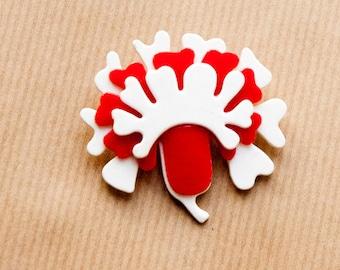 Rote Blume Brosche Vintage Mod in