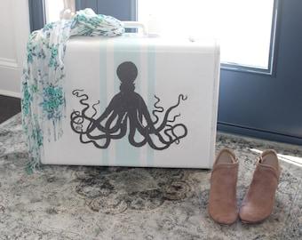Vintage Suitcase | Octopus Suitcase | coastal suitcase | coastal decor | octopus decor | hand painted | upcycled suitcase | suitcase