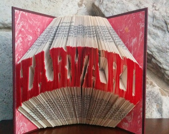 Harvard - Folded Book Art - Fully Customizable, graduation