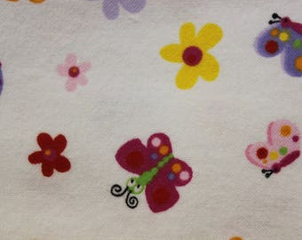 """Butterfly  flowers on white 100% Flannel cotton fabric   42""""-44"""" wide"""
