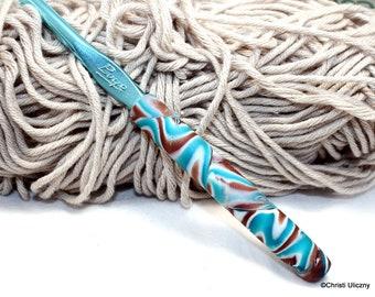 Crochet hook, Polymer clay crochet hook,  Boye new size J-10 or 6.00mm, ergonomic hook, decorative crochet hook, handmade, OOAK