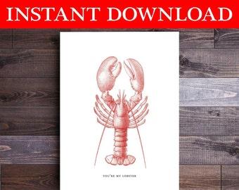 Downloadable Card You're My Lobster Friends I Love You Anniversary you're my lobster card for husband wife boyfriend girlfriend Love Card