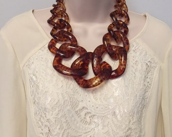 Tortoise Chunky Chain Link  Housewife Resin Statement Collar Bib Necklace Additional Colors Available