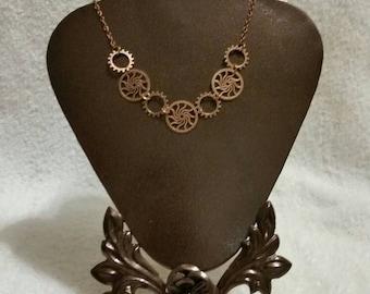 Copper metal gear necklace, Steampunk necklace, Steampunk gear necklace, Industrial Chic, Geek jewelry, OOAK gift, unique steampunk necklace