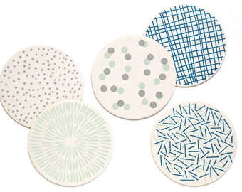 Letterpress Coaster Set | Blue Patterns | Set of 10