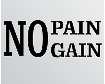 "24""x9"" No Pain No Gain Wall Decal Sticker Art Mural Home Decor Quote Vinyl Lettering Gym Success Work"