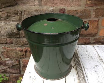 French Vintage Enamel Bucket with lid.