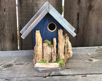 Rustic Birdhouse Farmhouse Country Style Functional Wooden Bird Houses Handmade, Hand Painted Blue & Winter Grey, Item #595002169