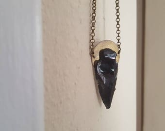 Obsidian Arrowhead & Brass