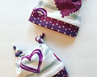 Newborn Baby Glitter Heart Hat