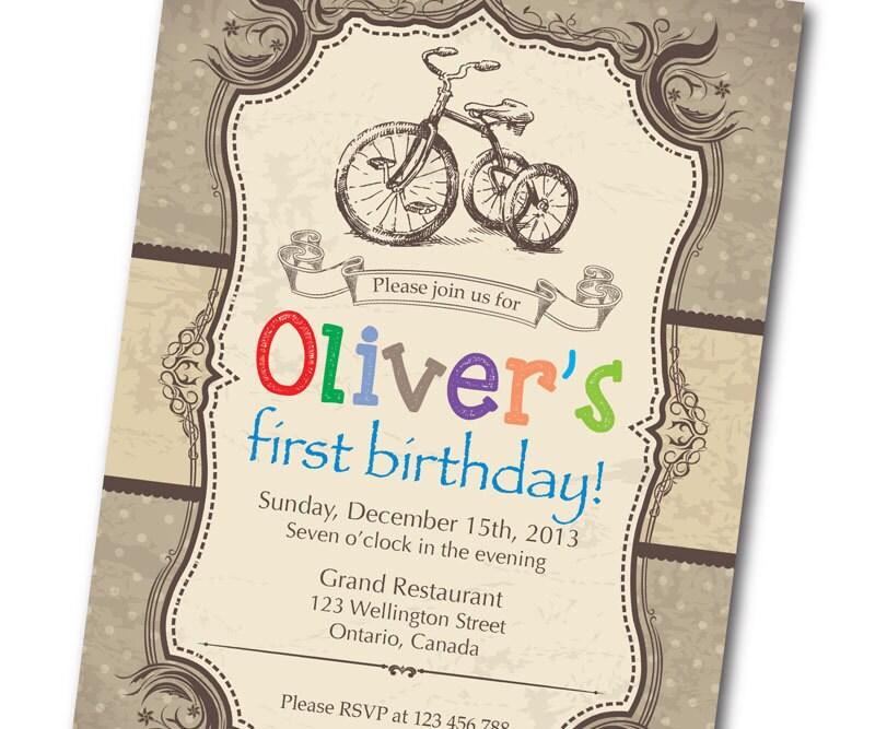 Bicycle Birthday Invitation. Retro Rustic Vintage Bicycle