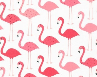 Flamingos on White From Robert Kaufman's Urban Zoologie Collection by Ann Kelle