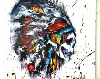 Indian skull with feathers