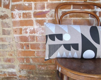 Screen Printed rectangular cushion in silver and black Stella print