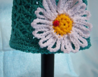 Teal Daisy Hat - 3 to 6 Months