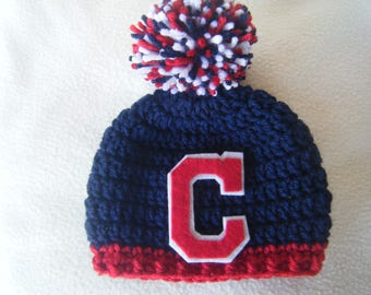 Crocheted Cleveland Indians Inspired Baseball Beanie/Hat - MADE TO ORDER - Handmade by Me