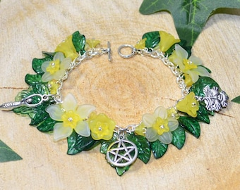 Summer Flowers Goddess and Greenman Bracelet - Yellow - Pagan Jewellery, Wicca
