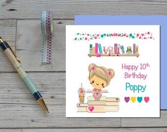 Girls Birthday Card - Kawaii Birthday Card - Personalised Birthday For Girls - Childrens Personalised Birthday Card - Cute Card - Teen Cards