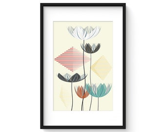 SUMMER LOTUS no.2 - Giclee Print - Abstract Contemporary Lotus Flowers in a Mid Century Modern Style