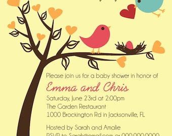 Birds Baby Shower Invitation Printable Digital Invitation Custom Personalized File