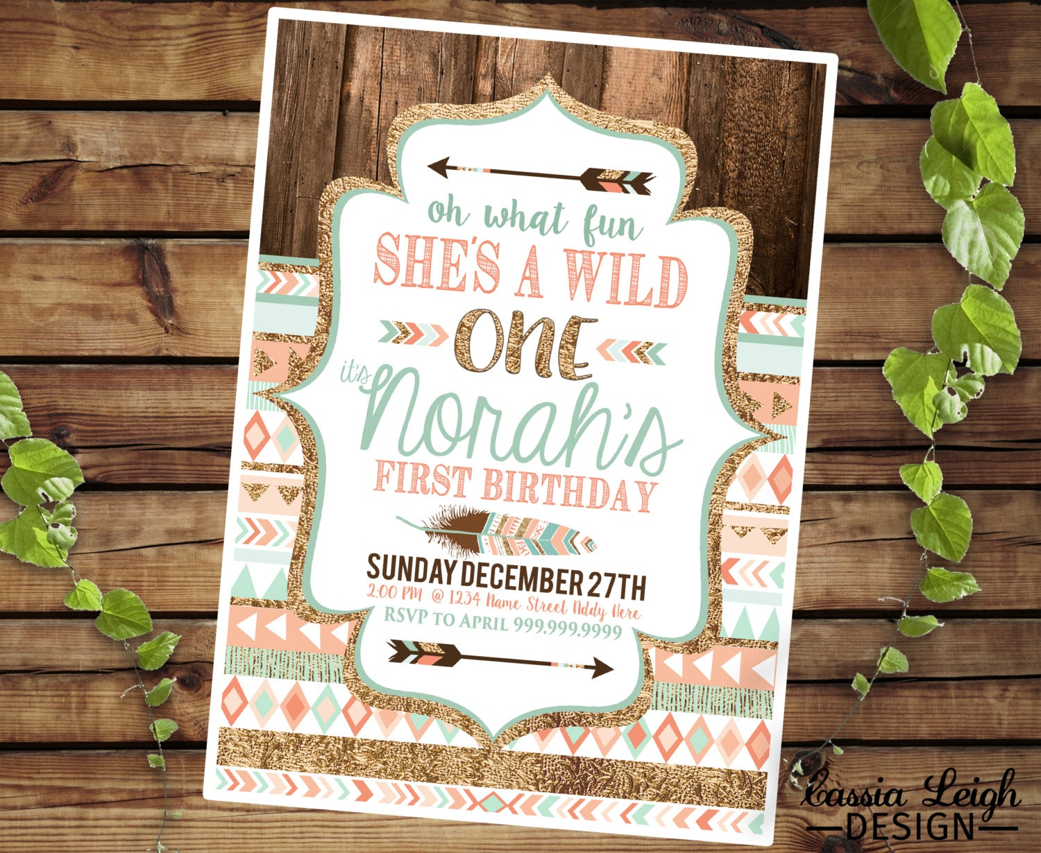 Tribal Wild One Party Invitations Coral Teal and Gold