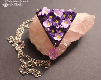 Pendant Necklace with polymer clay flowers