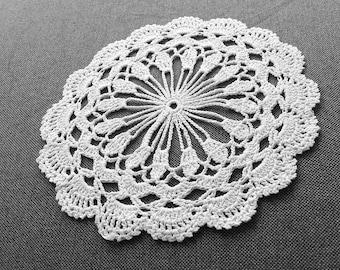 White Crochet Coasters Set of 6, Little Crochet Doilies, cotton coaster, lace doily, home decor, table decoration, handmade