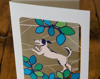 Leaping Dog Greeting Card - luxury laser cut-out -made in England